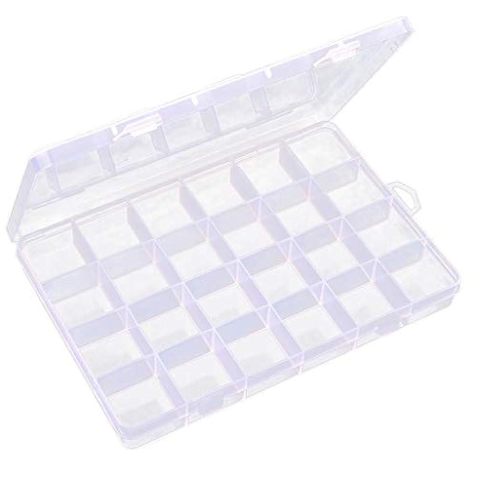 ローマ人腫瘍ビリー透明 ジュエリーボックス ネイルアートケース ビーズ 宝石 小物入れ 収納ボックス 24区画 多機能