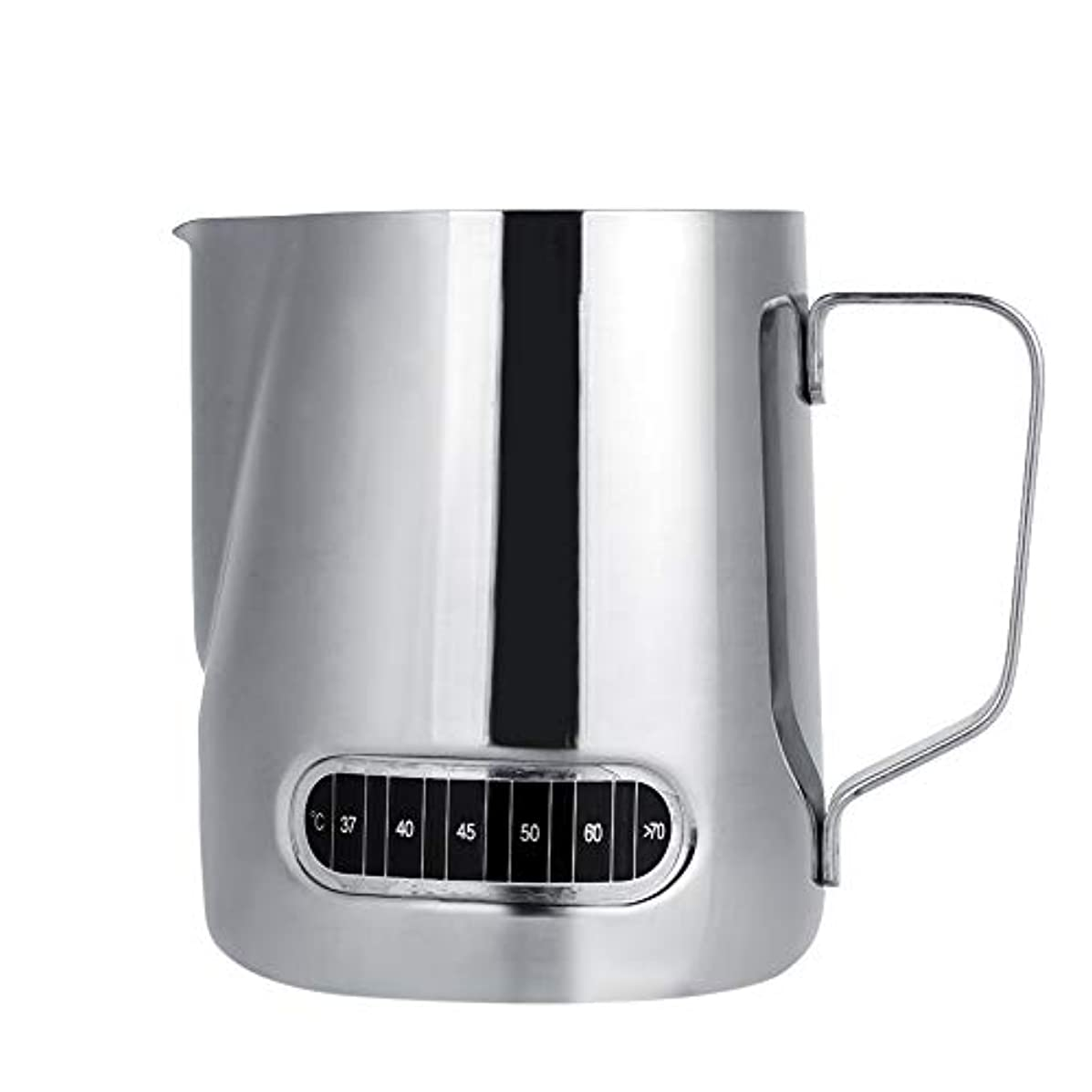 金属作動する無視するステンレスミルクピッチャー、600ミリリットルステンレスミルク泡立て器エスプレッソコーヒーカップマグ付き測定
