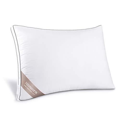 Homwarm 枕 安眠 人気 肩こり 高反発枕 ホテル仕様 高さ調節可能 丸洗い可能 (ホワイト, 63*43*20cm)