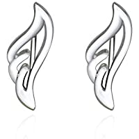 925 Silver Ear Climber Angel Wing Delicate Feather Crawler Cuff Stud Jacket Earrings Hypoallergenic