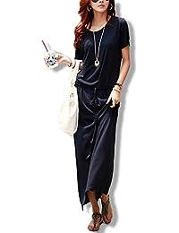 [ル?セリジエ] マキシ ワンピース レディース 半袖 リゾート ロング 3色展開(ブラック)