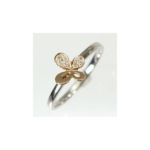 [キュートジュエリー]Cute jewerly ダイヤモンド 指輪 K18WG K18PG ダイヤ0.03ct バタフライリング 7
