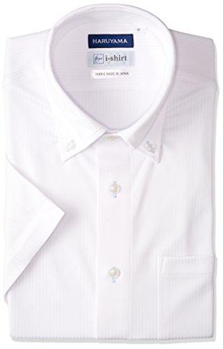 [ハルヤマ] i-shirt 【アマゾン別注】 ノーアイロン 半袖 ボタンダウンアイシャツ メンズ M162180034) ホワイト 日本 L(首回り41cm) (日本サイズL相当)