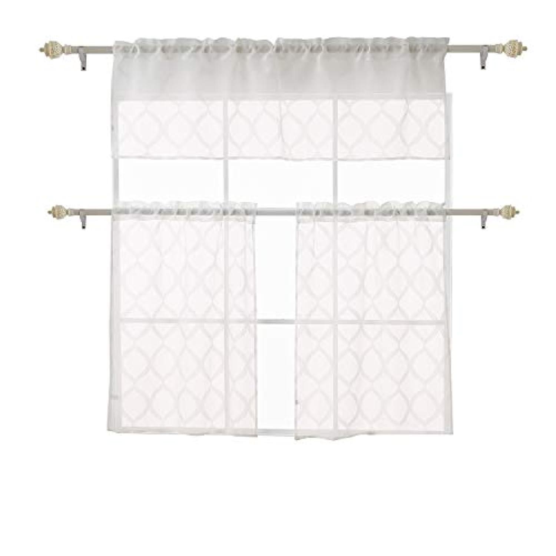 Deconovoシアーカーテンストライプソリッドジャカード3ピースキッチンTierカーテンと飾り布セット CT2387-1