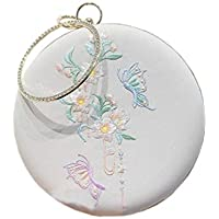 ACVIP Women's Butterflies Cherry Blossoms Embroided Chinese Round Wristlet Clutch Chain Handbag