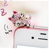 可愛い猫のイヤホンジャック ラインストーン ピンク色 EJ-819