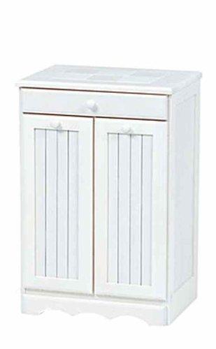 キッチン用ダストボックス キャスター付 天板タイル 2分別ゴミ箱 幅47cm/WH:ホワイト