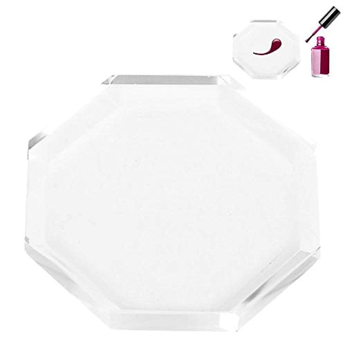 オーディション設置することになっているネイルパレット、ネイルアートパレット ネイルポリッシュプレゼンテーションプレート 透明ガラス 色塗料トレイ ネイルDIYツール(03)