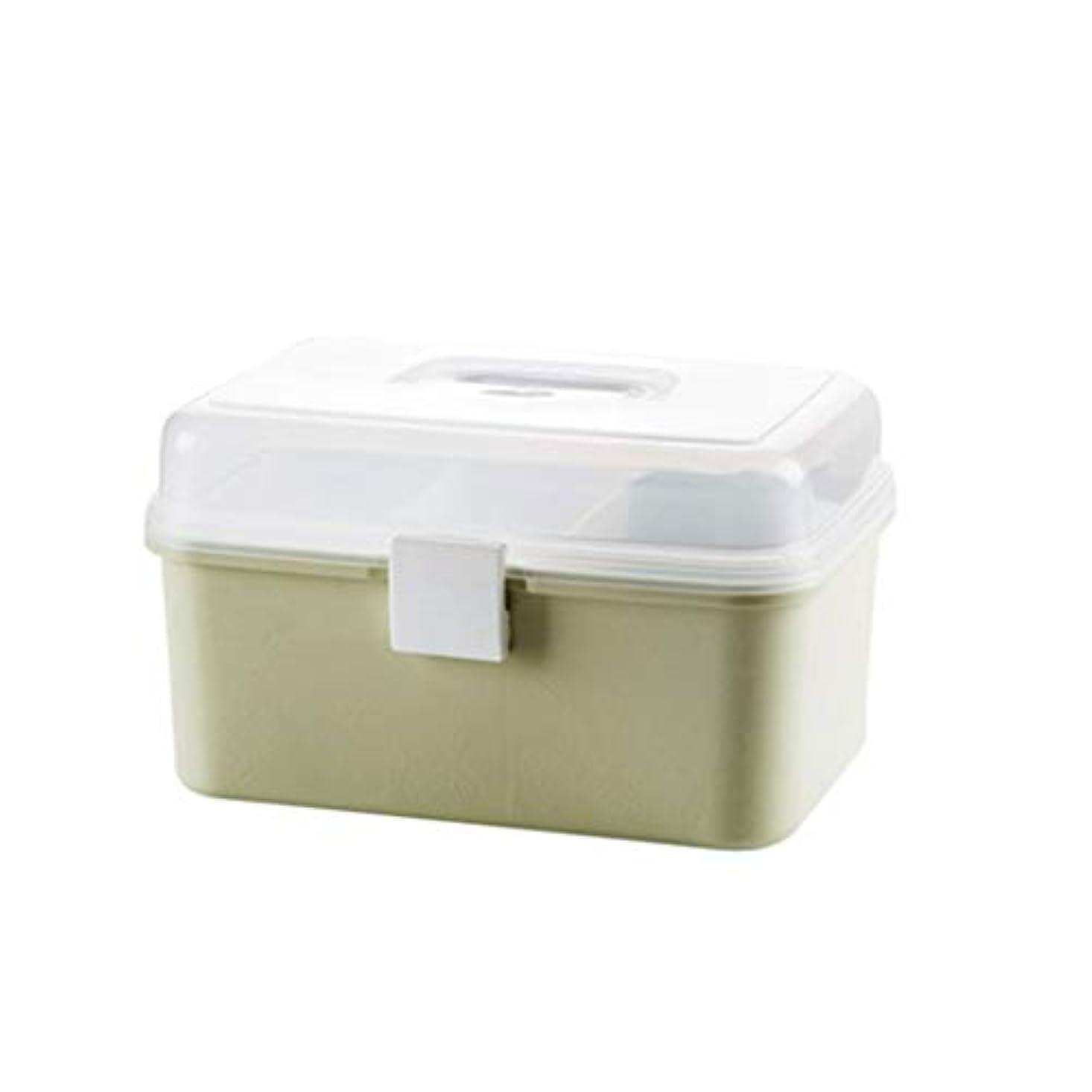 何生息地暫定YYFRB 二層薬箱、家庭薬収納箱、大型救急箱 医学パッケージ (Color : Green)
