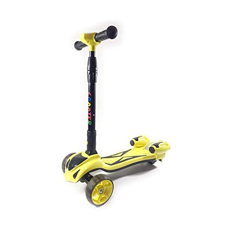 子供スクータースプレー3輪フラッシュ音楽ヨーヨー車の折りたたみ男の子と女の子の新しいスクーター ( Color : Yellow )
