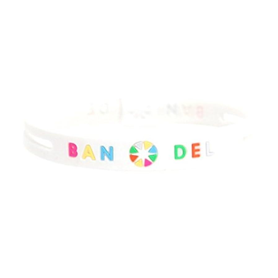 ほのめかす外観賛美歌[バンデル?BANDEL]ストリング ブレスレット 正規品 (ホワイト×マルチ)Lサイズ