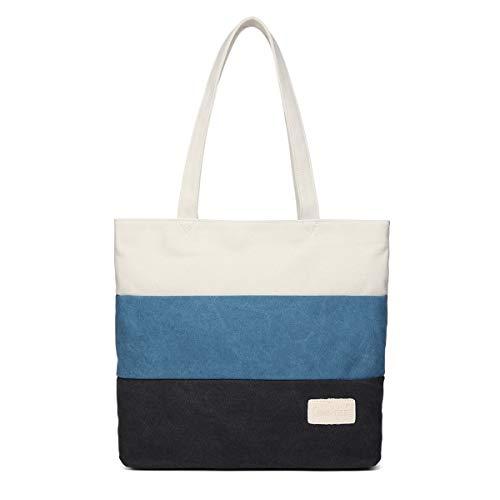 Oyey トートバッグ キャンバス バッグ ショルダー バッグ 大容量 帆布 ハンドバッグ レディース 学生 男女兼用 (ブルー)