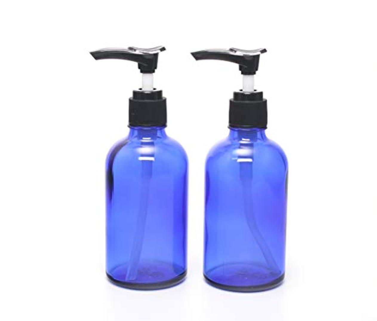 勤勉購入大混乱遮光瓶 ポンプボトル (硝子) 100ml / ブルー ? ブラックポンプヘッド (2本セット)