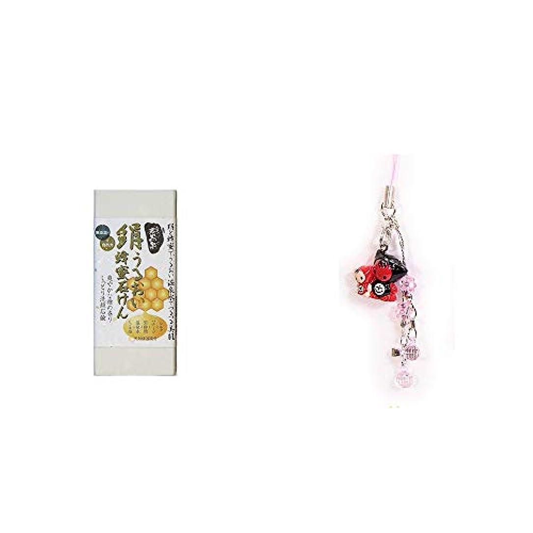 [2点セット] ひのき炭黒泉 絹うるおい蜂蜜石けん(75g×2)?さるぼぼペアビーズストラップ 【ピンク】/縁結び?魔除け//
