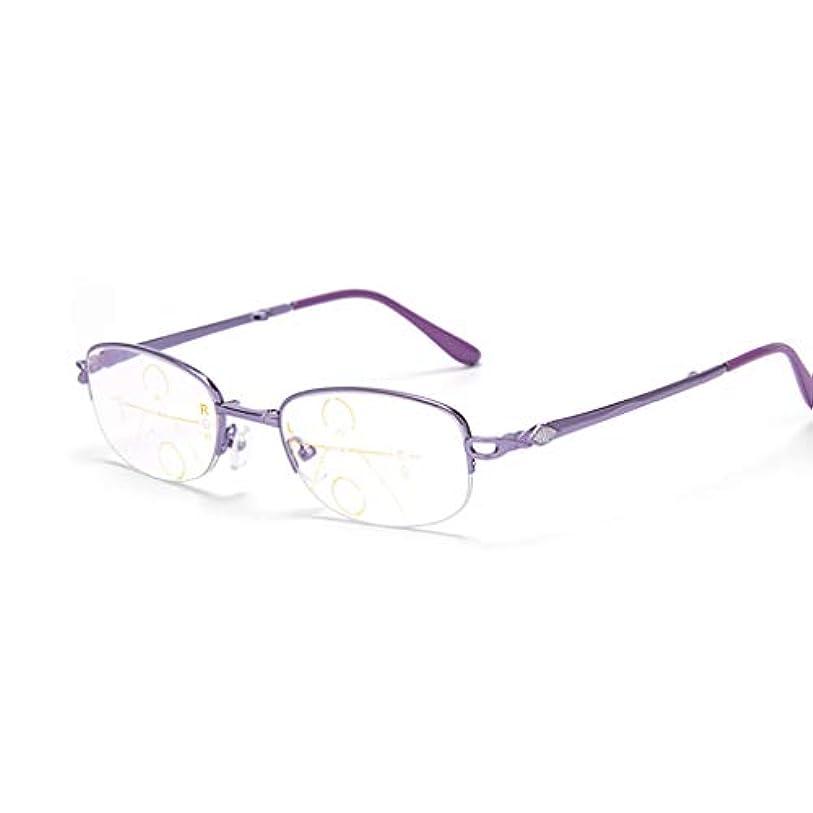 フェンス広範囲に吐き出すなめらかでエレガントなデザインのファッション老眼鏡春ヒンジ男女兼用遠近両用自動調整ハーフボーダー