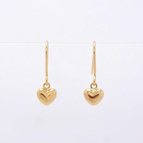 Gold Heart 18金製 K18 gold ゴールド (日本製 Made in Japan) (金属アレルギー対応) ハート つりばり型 ピアス ジュエリー ケース付 [HJ]