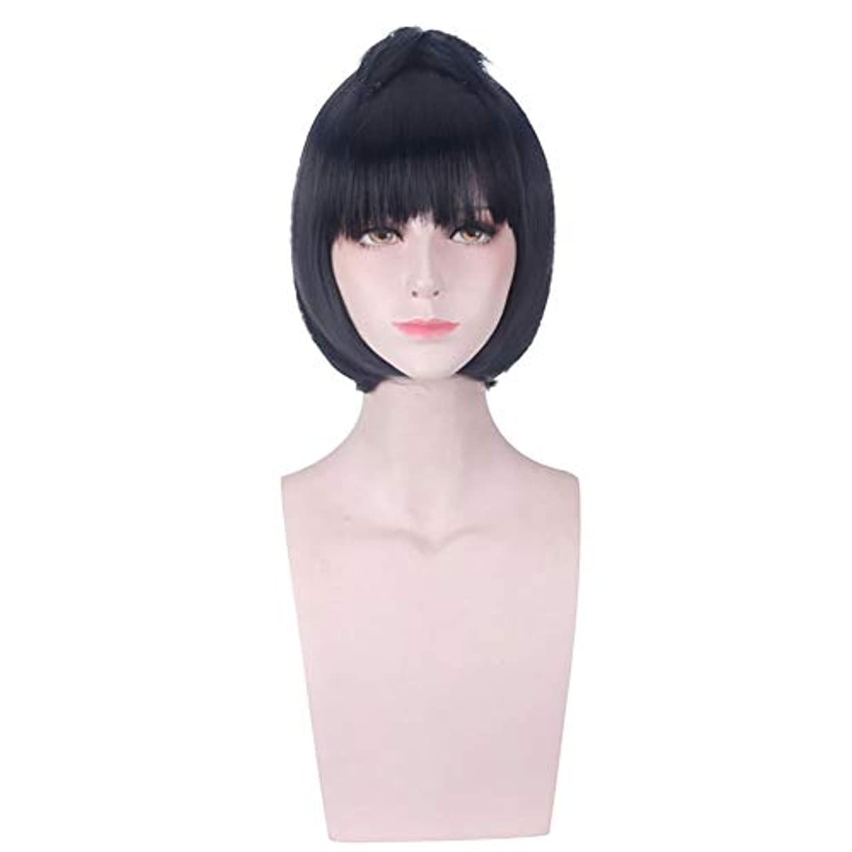 プリーツ貝殻実験室前髪/前髪ウィッグと女性の合成黒ショートウィッグ高温ファイバーヘアー