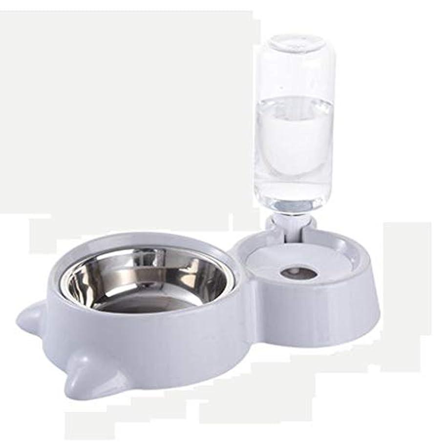 人事こしょうなめるHXLG Pets Bowl For ペット自動給水器フィーダー、ペット給水器噴水犬ボウル、自動犬給水器ディスペンサー、(ペット給水器とフィーダーセット) (色 : グレイ ぐれい)