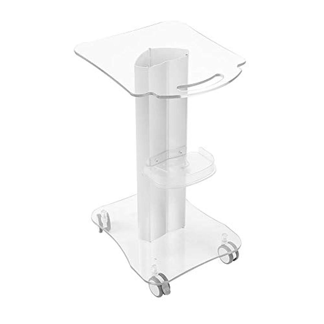 細心のオーロックかけがえのない美容院のトロリー大広間の圧延のカートの使用美容院のための4つの車輪のアルミニウム立場のプレキシガラスの台座収納トレイ
