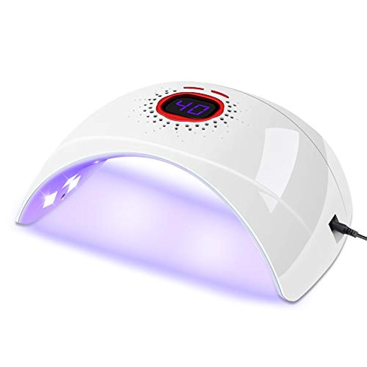 害虫行進ステープルSULET UVライト ネイルドライヤー 硬化用UVライト 赤外線検知 180° 速乾UV 30s/60sタイマー表示 プロ向き 初心者適用 高速硬化 日本語説明書付き(白)