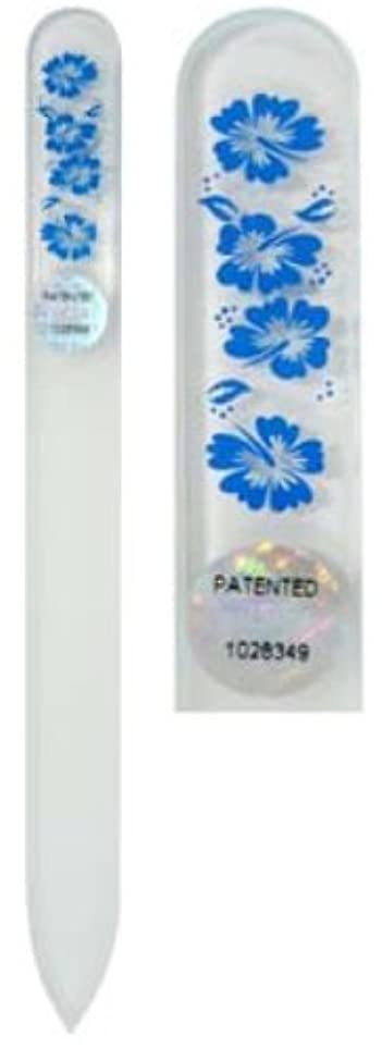 パントリーシルク平等Blazek(ブラジェク) ガラス製爪やすり ハワインアンMサイズ 140mm チェコ製 ブルー