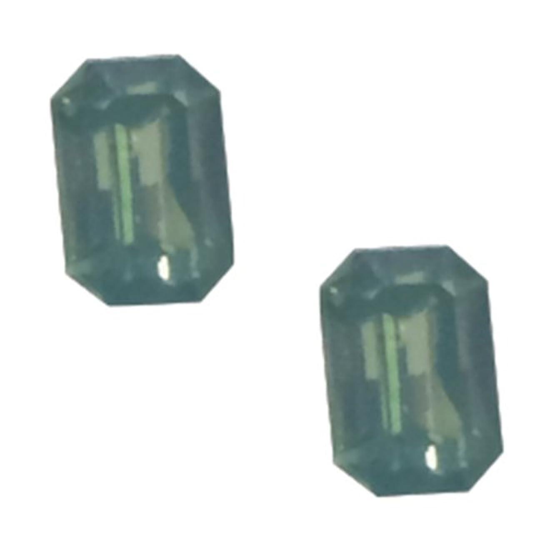 圧倒するバルク肺炎POSH ART ネイルパーツ長方形型 4*6mm 10P グリーンオパール