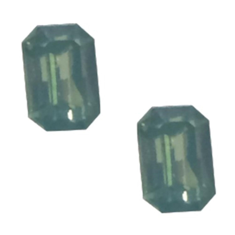 POSH ART ネイルパーツ長方形型 4*6mm 10P グリーンオパール