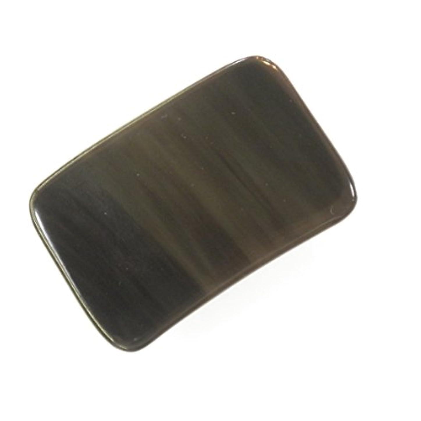 非常に銀行スナップかっさ プレート 厚さが選べる 水牛の角(黒水牛角) EHE214 長方形小 一般品 薄め(5ミリ程度)