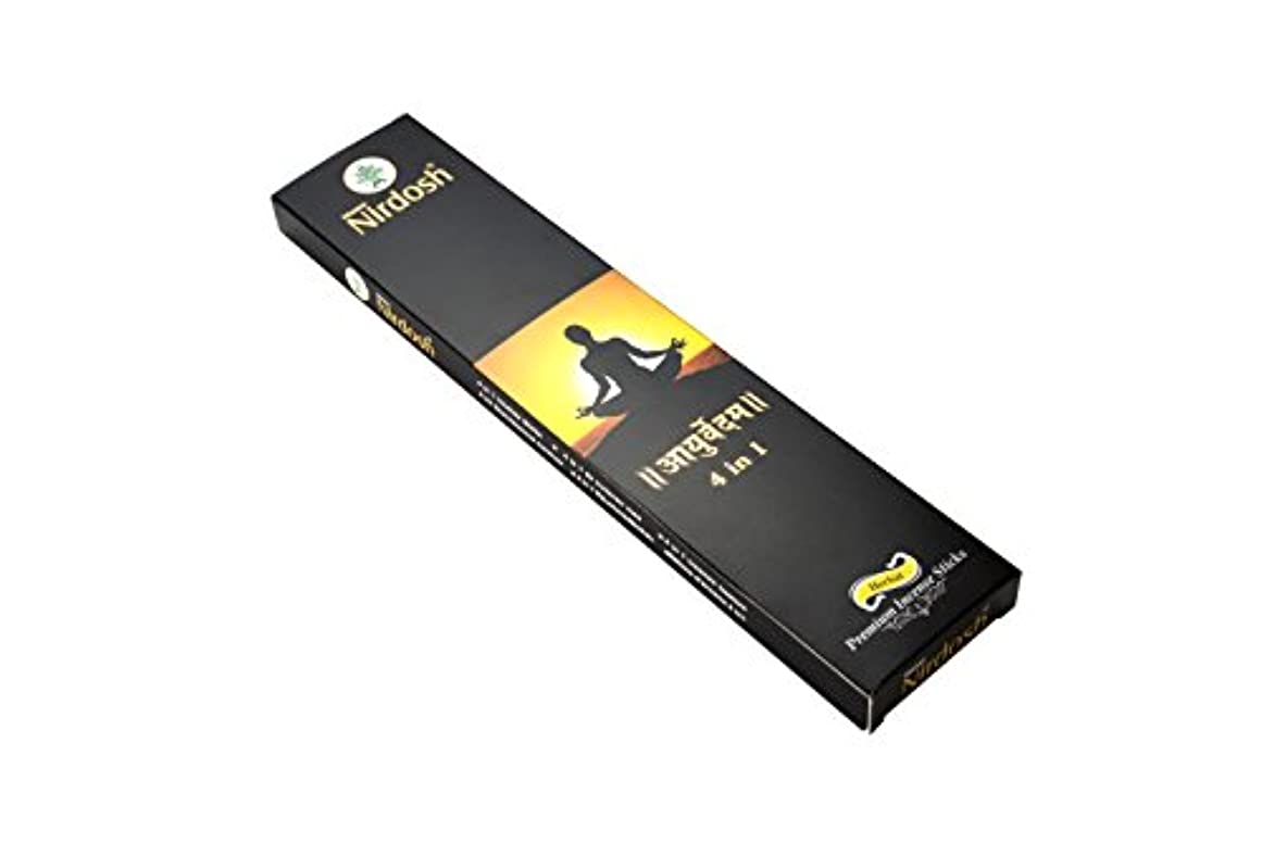Nirdosh Premium Herbal Incense Sticks – Natural ayurvedam 4 in 1味100 g。12インチLong ( Pack of 2 ) with 1 Free木製お香...