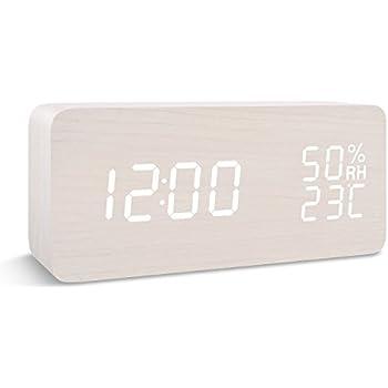目覚し時計 FIBISONIC デジタル 置き時計 LED 大音量 アラーム カレンダー付 気温 音声感知 USB ウッド ナチュラル風 おしゃれ プレゼント (ホワイト)