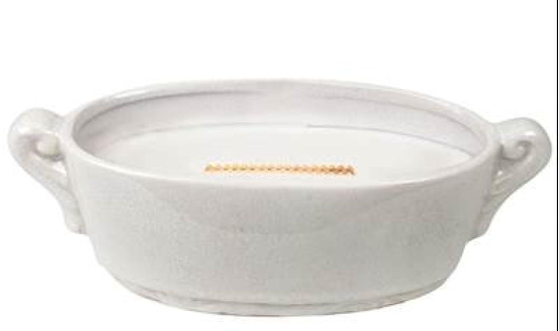バスト証明する雑種リネンホワイトCrackle MediumプレミアムHearthWick Flame Scented Candle by WoodWick