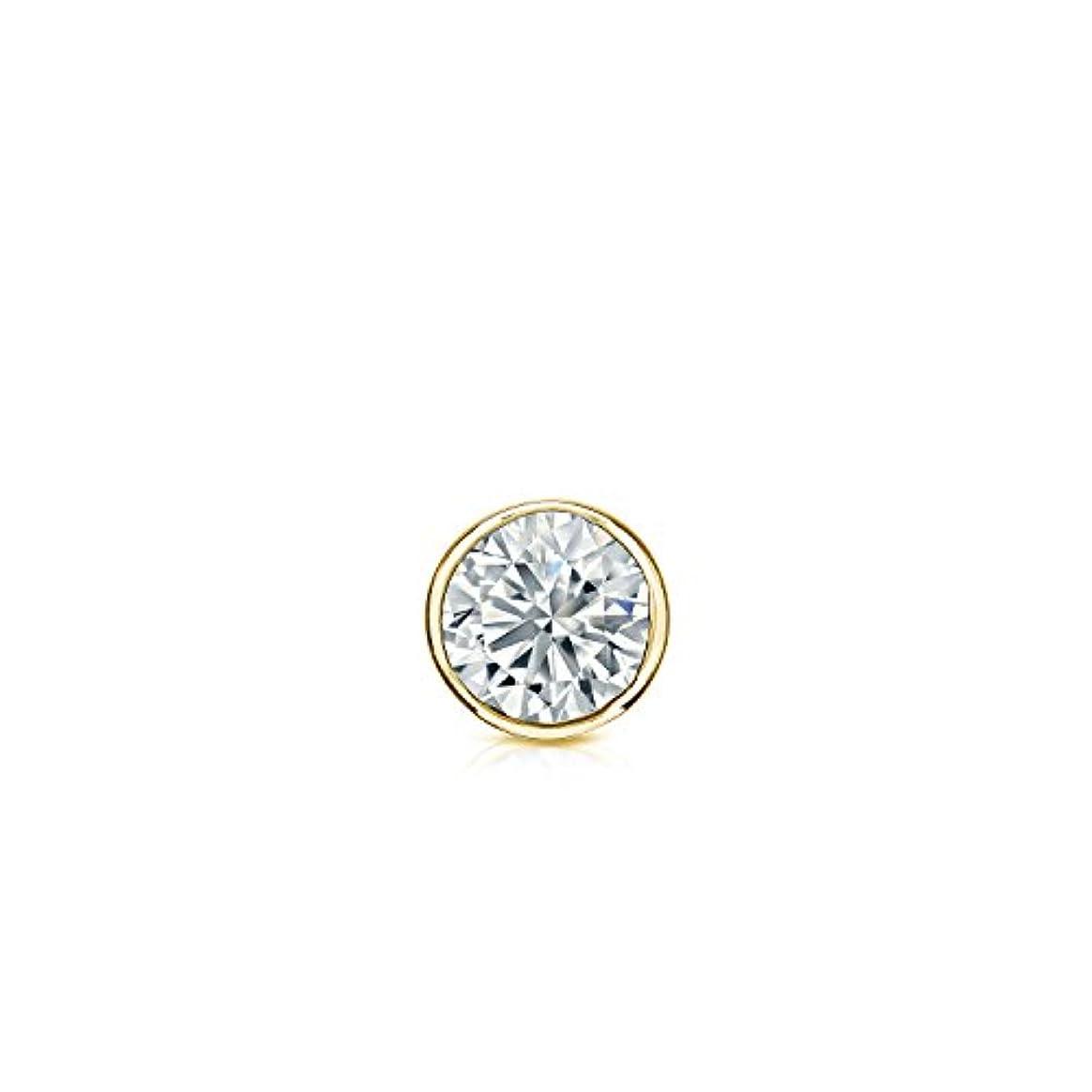 物理オートマトン伝導率18 Kゴールドbezel-setラウンドダイヤモンドシングルスタッドイヤリング( 0.08ct、ホワイト、vs2-si1 ) screw-back