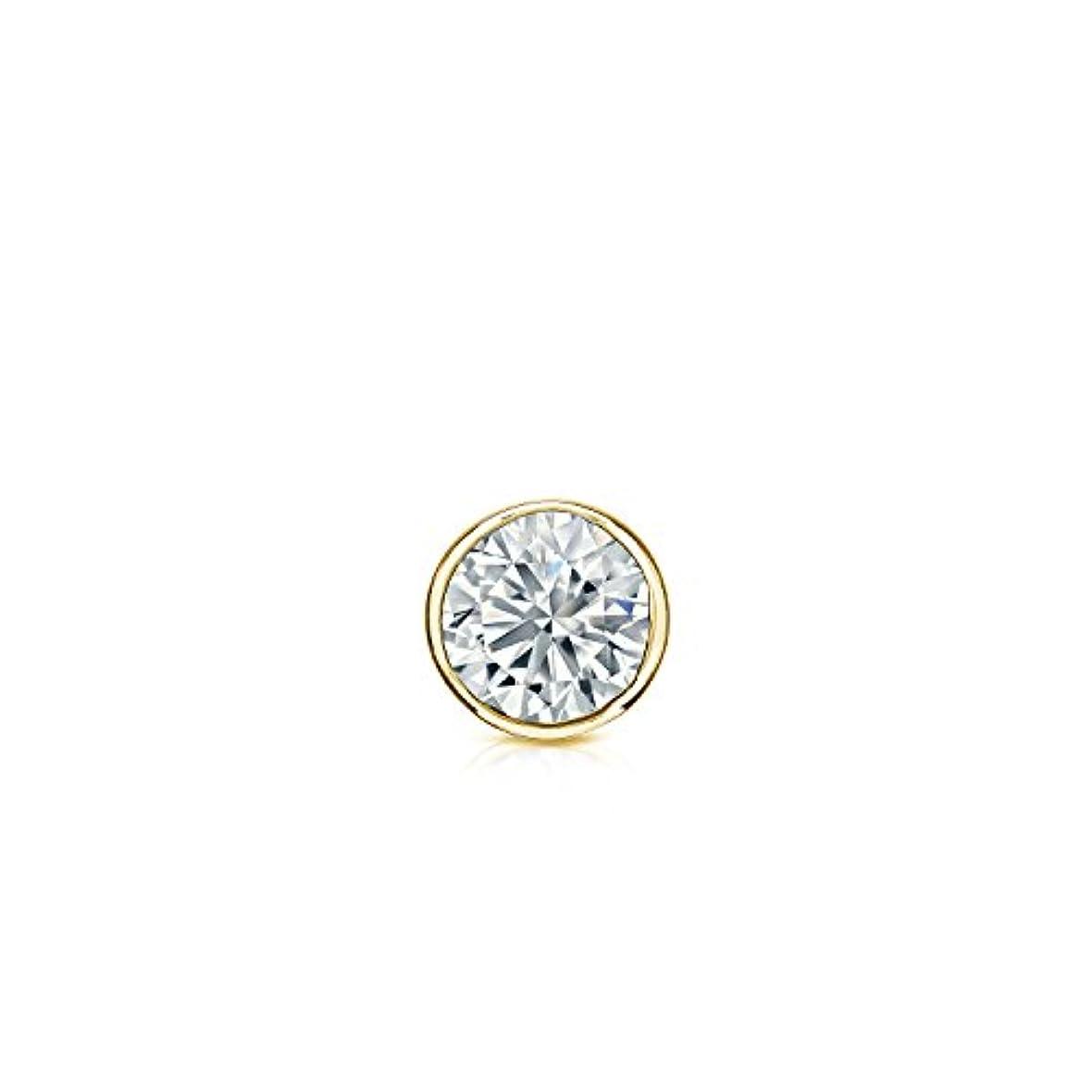木集中的なヒステリック14 Kゴールドbezel-setラウンドダイヤモンドシングルスタッドイヤリング( 1 / 8 – 1 CT、Oホワイト、i1 - i2安全ロックバックDisc