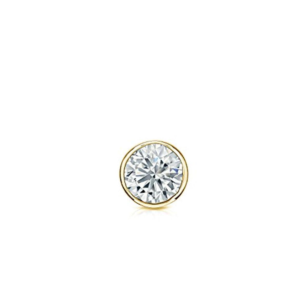 ラフ睡眠素子開発する18 Kゴールドbezel-setラウンドダイヤモンドシングルスタッドイヤリング( 0.08ct、Good、i1 - i2 ) screw-back