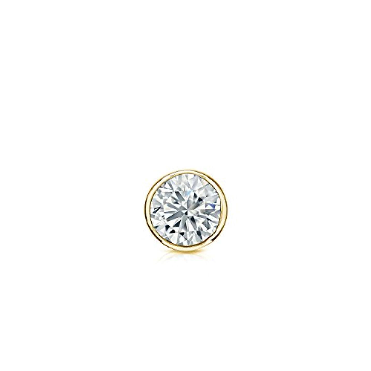 限定落ち込んでいる建築14 Kゴールドbezel-setラウンドダイヤモンドシングルスタッドイヤリング( 1 / 8 – 1 CT、Oホワイト、i1 - i2安全ロックバックDisc