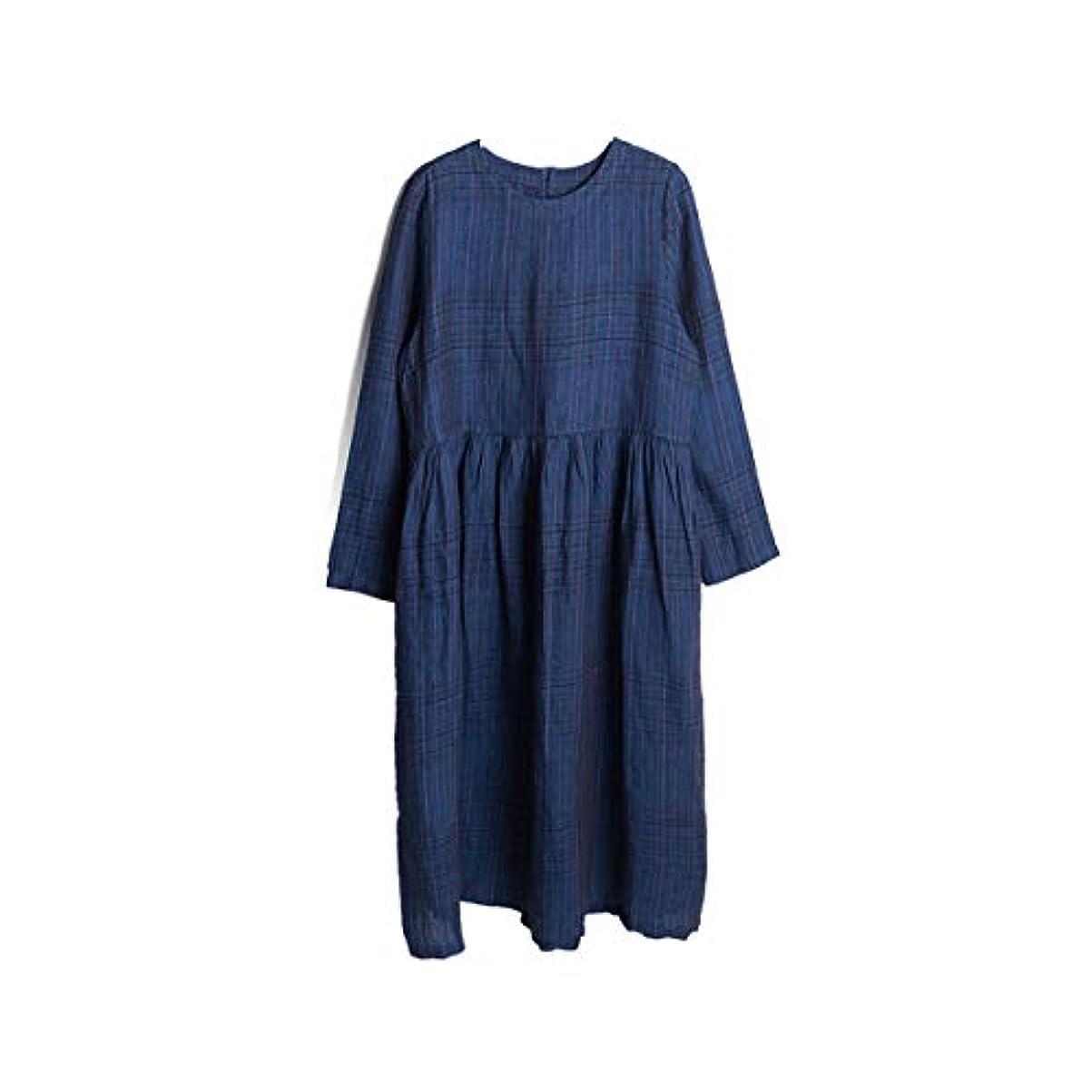 福祉ほぼアミューズ女性のドレス - ラウンドネックウエストリネンアートレトロ長袖ドレス