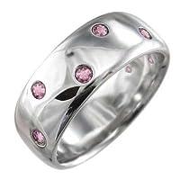 [スカイベル] ピンクトルマリン 10金ホワイトゴールド 丸い 指輪 レディース リングサイズ 21.5号