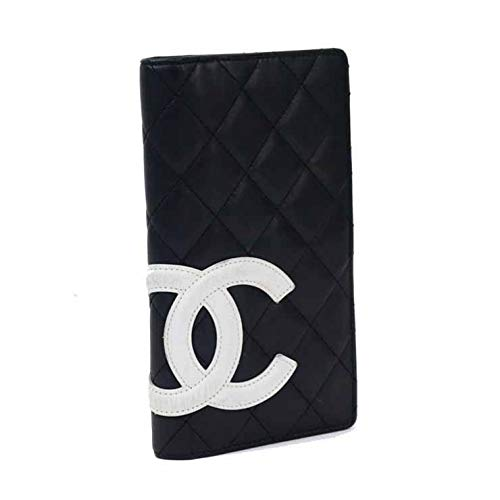 CHANEL(シャネル) カンボンライン カンボンライン 二つ折り財布 ブラック×ピンク [中古]