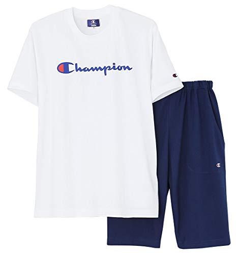 [チャンピオン] メンズルームウェア 綿100% 半袖半パンツ 天竺 ホワイト 日本 LL (日本サイズ2L相当)