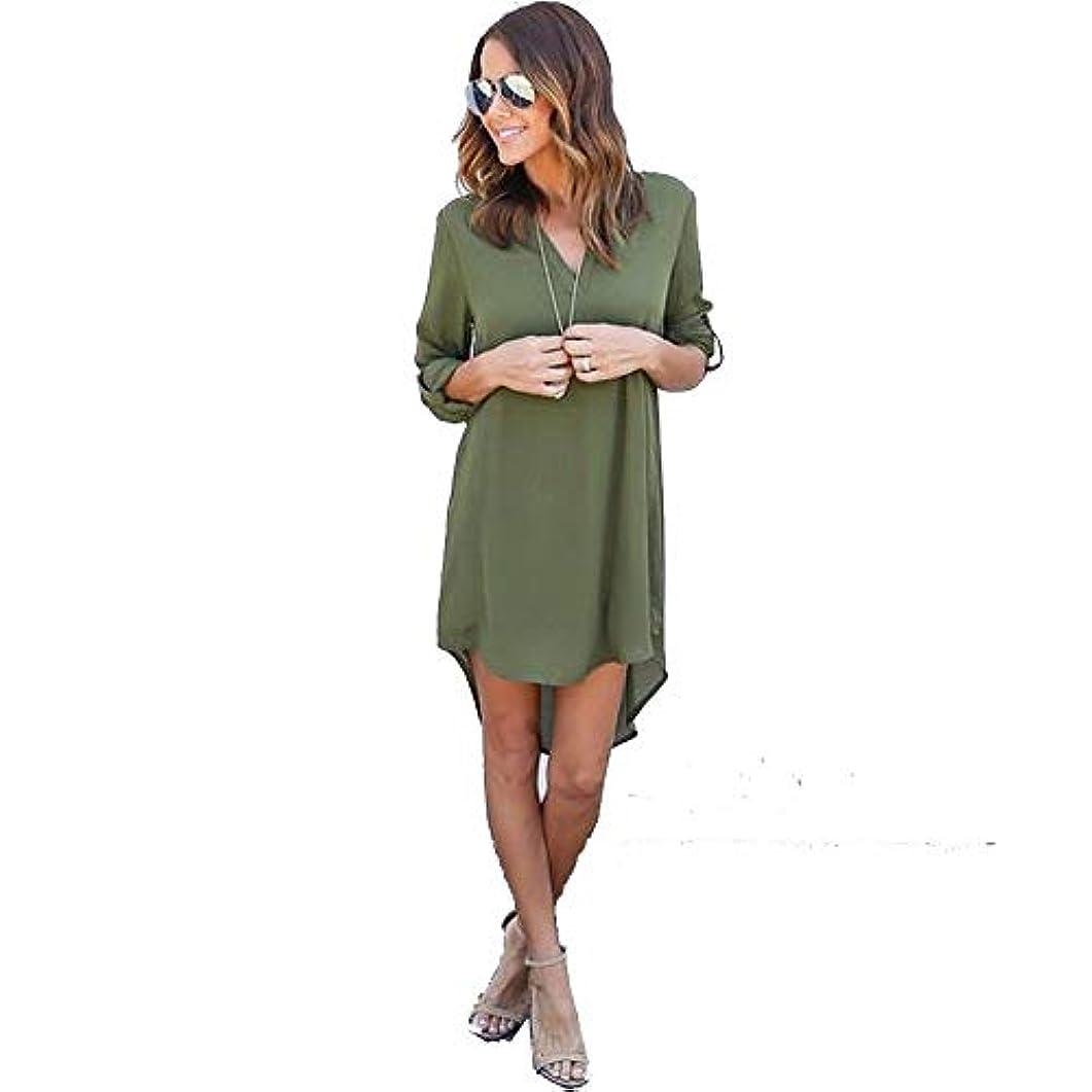 シーフード消毒剤ラグMIFAN女性ドレス、シフォン、Vネック、無地、長袖、ゆったり、ミニドレス、Tシャツドレス