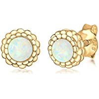 Elli Women Round Circle Geo Blogger Opal 925 Sterling Silver Gold-Plated Earrings