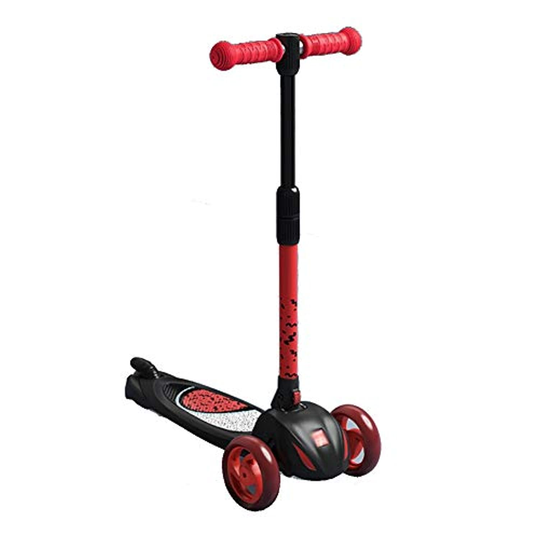 CQILONG スクーター 折りたたみスクーター チルトトゥターンステアリングシステム 調整可能なハンドルバー 滑り止めデッキ 1歳から6歳まで 、2色 (Color : Red, Size : 54x24x67-71.3cm)