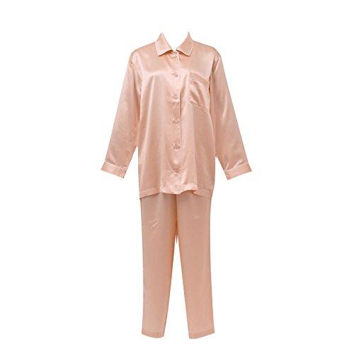 (ワコール)Wacoal 睡眠科学 レディース シルクサテン シャツパジャマ 長袖 上下セット LL シルク100% 絹(S