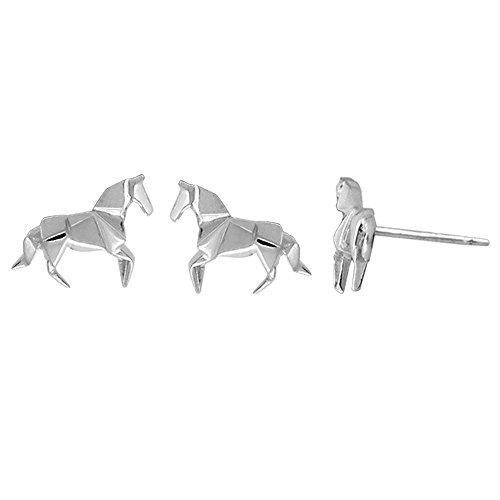Bomaスターリングシルバー折り紙馬スタッドイヤリング