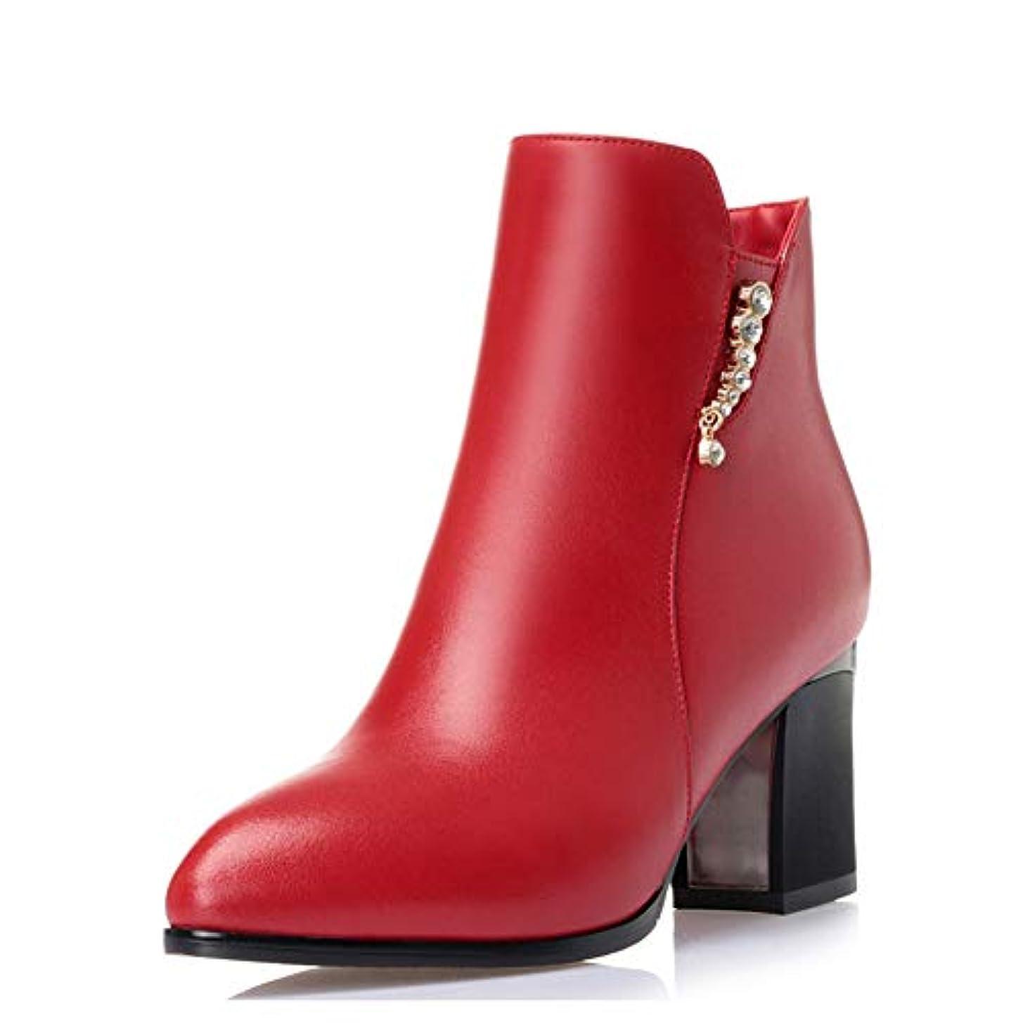 特徴づける減衰粗い女性のブーツ、レザーのブーツ秋冬レトロマーティンのブーツ厚いかかとの女性の靴女性のシングルブーツ (色 : A, サイズ : 38)