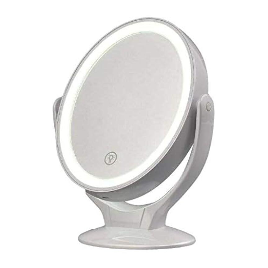 充電式LED照明化粧化粧台ミラー、調光対応タッチスクリーン付き360度回転拡大鏡、ポータブル卓上照明付き化粧鏡コードレス