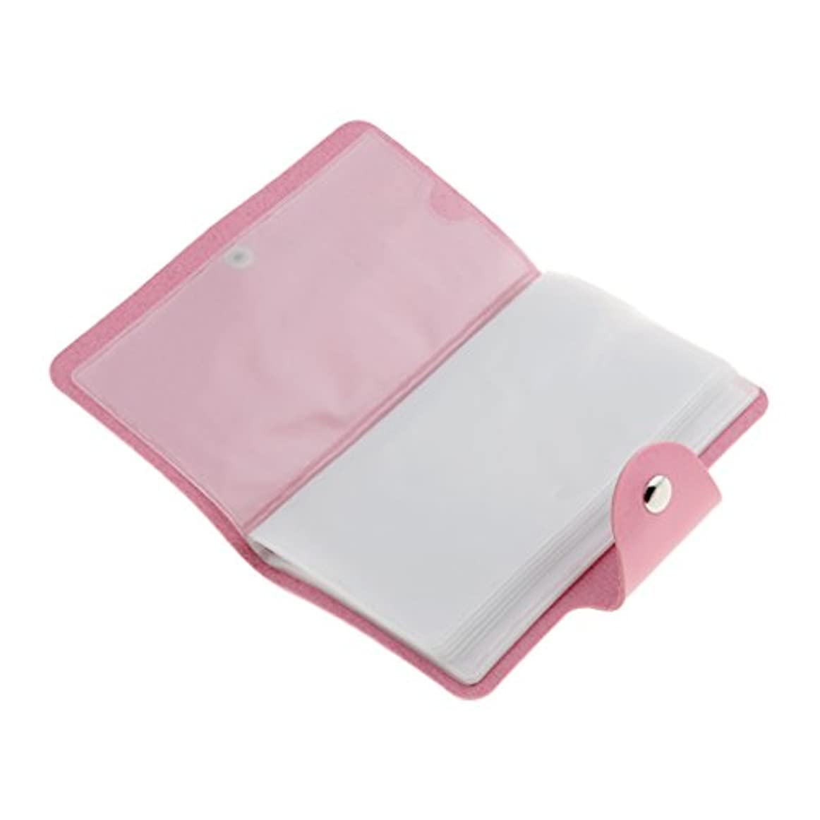 費用世界の窓やむを得ないPerfeclan ネイルアートプレートスタンパーバッグ 24スロット ネイル プレート ホルダー ケース 5色選べ - ピンク
