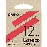 カシオ ラテコ詰め替え用テープ 黒文字/赤テープ 12mmLateco XB-12RD