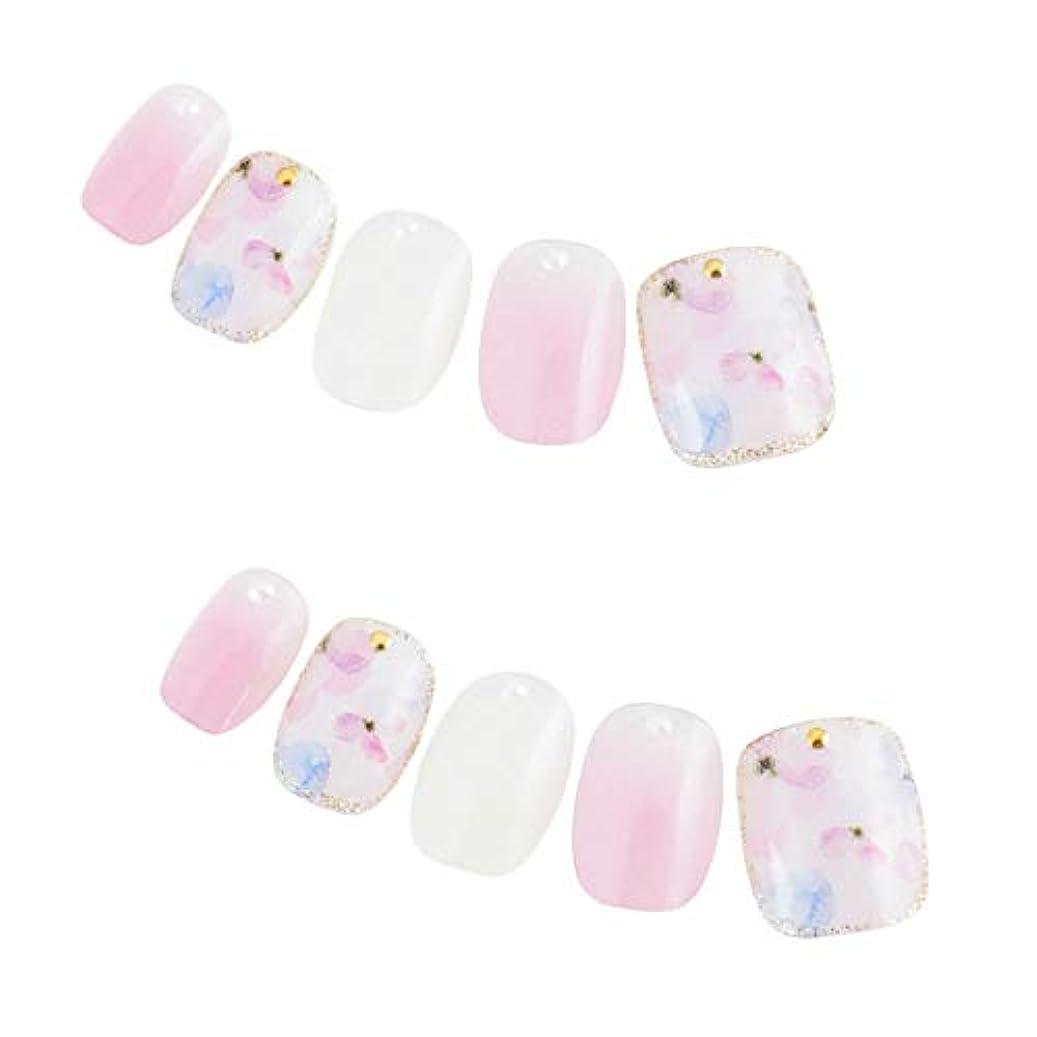 繊毛供給飛躍ゆずネイル ネイルチップ ピンク系 花 ガーリッシュ デート ドレス(E03010-Q-C)