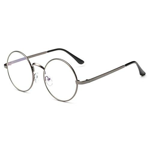 [FREESE] 丸型 サングラス 丸サングラス ラウンド型 ファッション丸メガネ UVカット 軽量 クロス&眼鏡ケース(クリア/グレー)